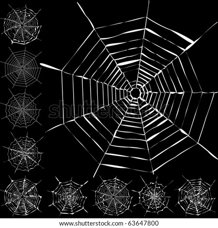 Set of 11 different spiderwebs isolated on black, easy to print, vector illustration