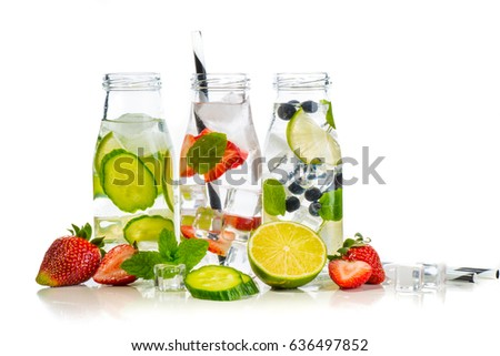 Variety of infused detox water isolated on white, health concept #636497852