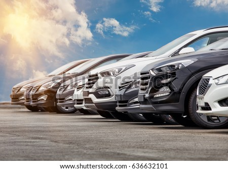 Cars For Sale Stock Lot Row. Car Dealer Inventory Royalty-Free Stock Photo #636632101