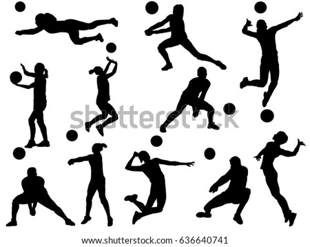 Set of volleyball player silhouette