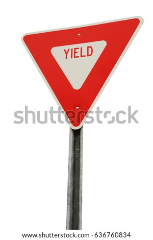 yield sign isolated on white background