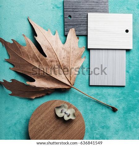 Autumn interior design theme flat lay