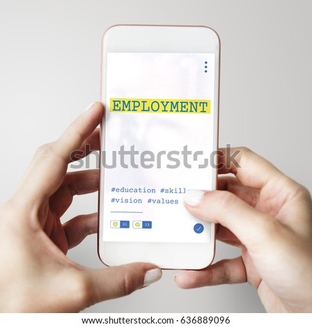 Hands working on digital device network graphic overlay #636889096