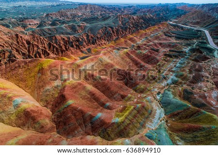 Aerial view on the colorful rainbow mountains of Zhangye danxia landform geological park in Gansu province, China, May 2017 Royalty-Free Stock Photo #636894910