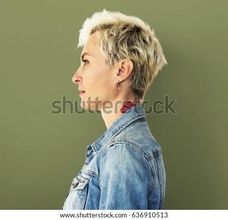Caucasian Blonde Woman in a Studio Shoot #636910513