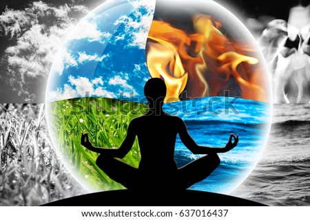 Female yoga figure in a transparent sphere, composed of four natural elements (water, fire, earth, air), as a concept for controlling emotions, power over nature, calm and optimism. Royalty-Free Stock Photo #637016437