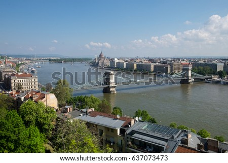 Panorama of Budapest, Hungary and Danube river taken from the viewpoint of Buda Castle #637073473