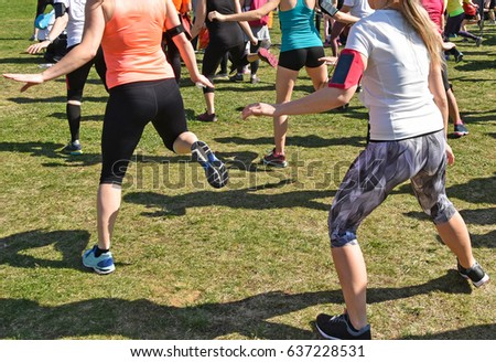 Women are warming up before running race #637228531