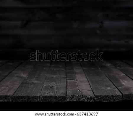 Dark wooden table for product, old black wooden perspective interior #637413697