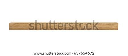 oak wooden beam isolated on white background Royalty-Free Stock Photo #637654672
