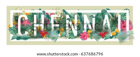 vector floral framed typographic CHENNAI city artwork #637686796
