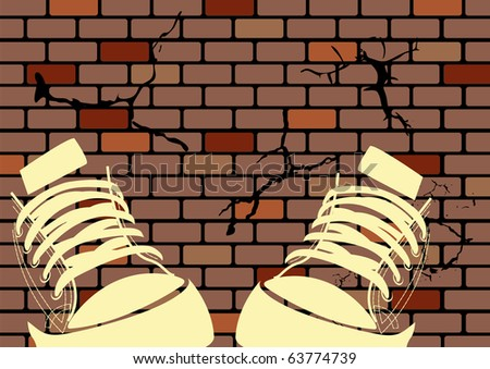 Grunge illustration of a weathered wall and sneakers