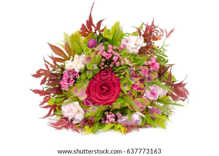Bouquet of flowers isolated on a white background #637773163