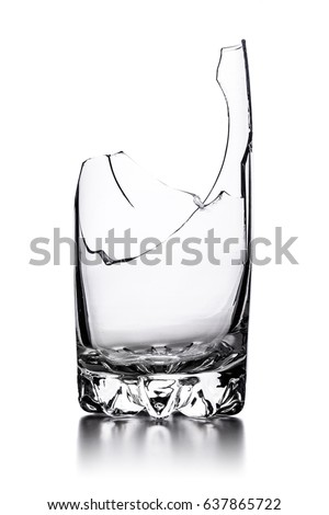 broken empty glass isolated on white background #637865722