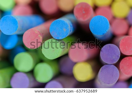 multicolor of chalks is equipment for children drawing #637952689