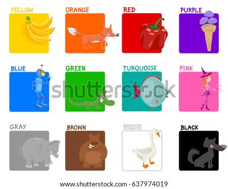 Cartoon Illustration of Basic Colors Educational Set for Preschool Children