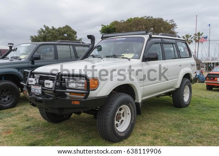 Long Beach, USA - May 6 2017: Toyota Land Cruiser 1991 on display during the 22nd annual All Toyotafest. #638119906
