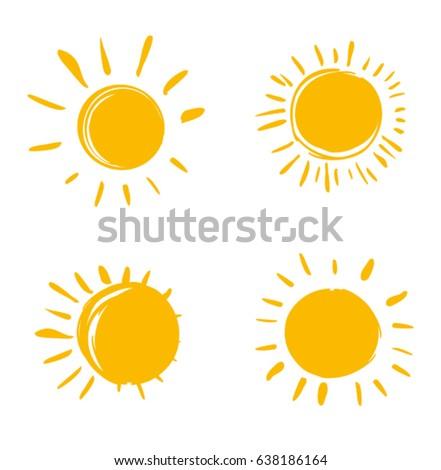 Vector set of suns. Four painted solar symbols.