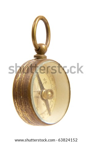 Antique Worn and Faded Old Brass Compass Angle View Isolated on White Background #63824152