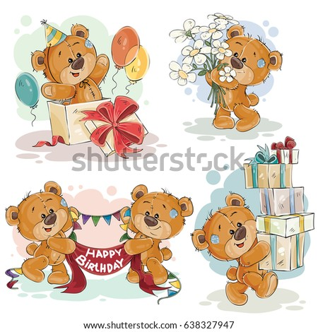 Set of clip art illustrations of teddy bear wishes you a happy birthday
