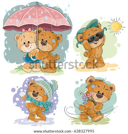 Set of clip art illustrations of teddy bear and different seasons