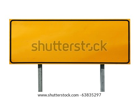 Big blank highway sign isolated on white.