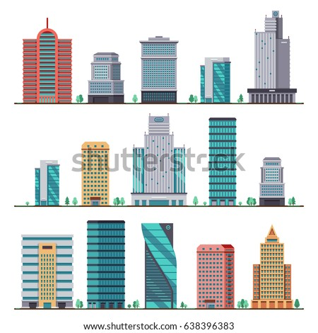 Buildings and modern city houses flat vector icons Royalty-Free Stock Photo #638396383