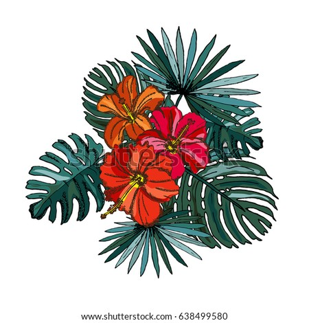 Elegant seamless pattern with tropical hibiscus flowers and leaves, design element. Floral pattern for invitations, cards, scrapbooking, print, wallpapers, web backgrounds, manufacturing