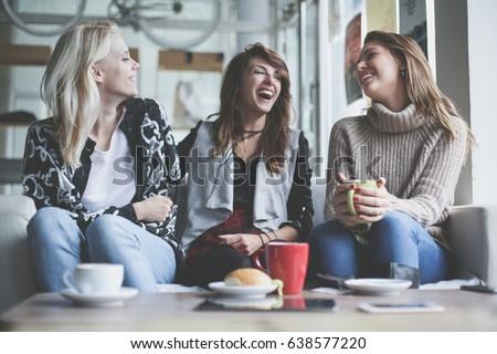 Three best friends. Young women having conversation. #638577220