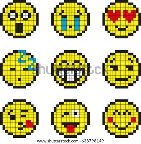 Yellow Smiley Pixel Image Different Stock Photo 578253388