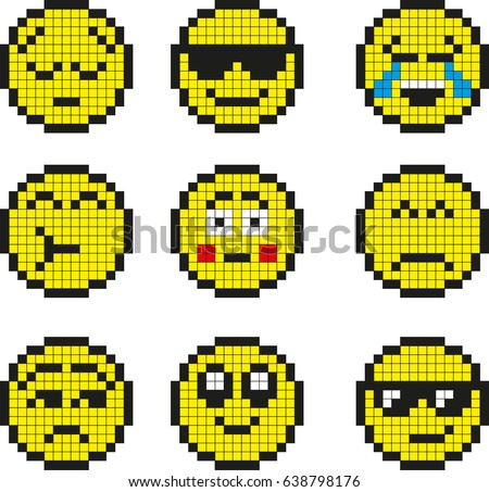 Set Of Vector Simple Yellow Pixel Stock Photo 113157151