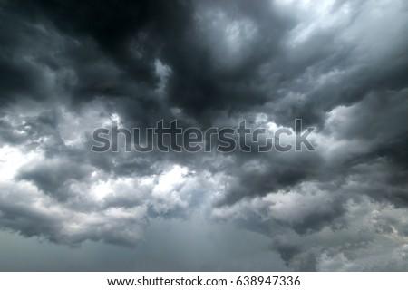 Dark sky and dramatic black cloud before rain.rainy storm