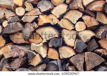 Stacked Logs Texture, Natural Background. Cross section of the timber, firewood stack for the background #639030967