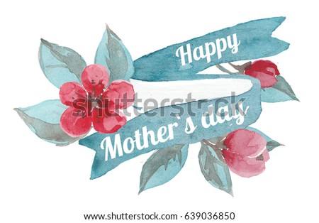 Happy Mother`s day, pink flowers and blue ribbon