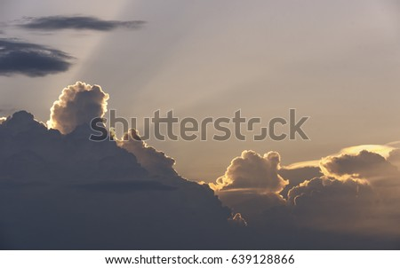 Sky background.Sunset or sunrise with cloud and light rays.  #639128866