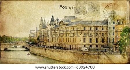 vintage Parisian cards . retro photo album pages and postcards. Paris, France