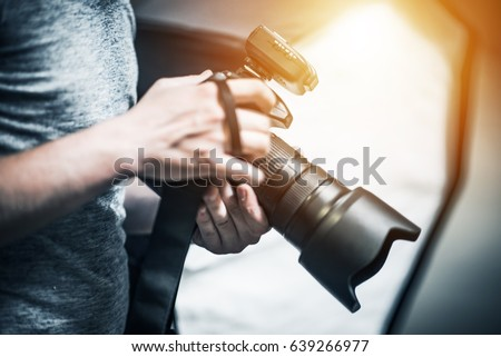 Professional Photography Job Concept. Photographer with Modern Digital Camera in Hand  Royalty-Free Stock Photo #639266977