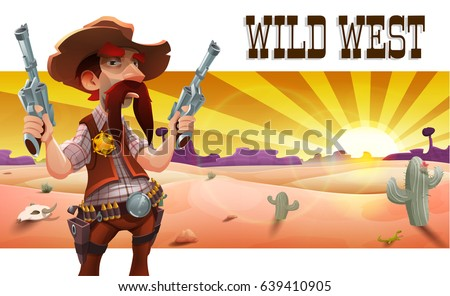Wild west landscape with cool cowboy, desert at sunset and mountains. Vector illustration.