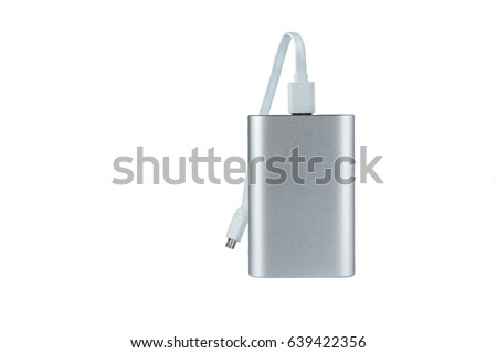 Portable external battery isolated on a white background . #639422356