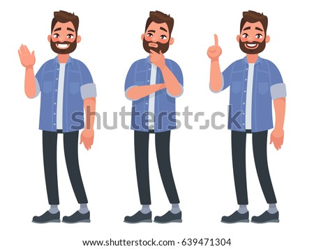 Set of character bearded man greets , thinks and finds a solution. Vector illustration in cartoon style Royalty-Free Stock Photo #639471304