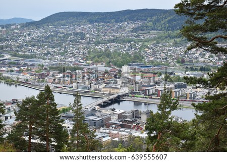 View from the mountain named Spiralen in Drammen, Norway. #639555607