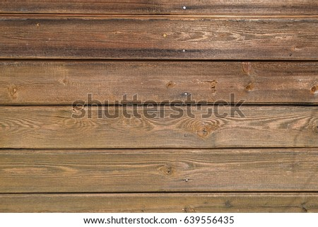 Treated wooden boards - wood decking flooring and wood deck with paneled walls. Textures and patterns of natural wood. Background for interiors and modern design ideas #639556435
