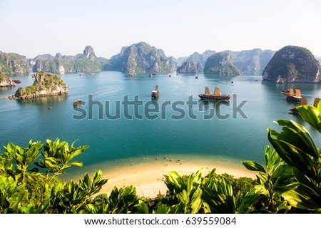 Ha-long Bay on a sunny day, viewed from the summit of a nearby island #639559084