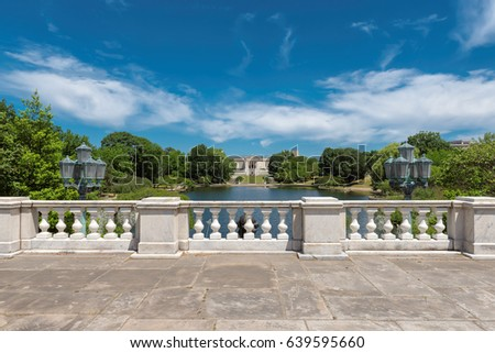 White balustrade and empty terrace overlooking the park near Wade Lagoon at summer, Cleveland Ohio.