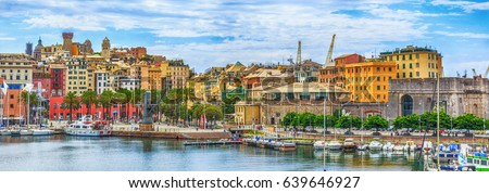 Genoa port sea view with yachts panoramic Royalty-Free Stock Photo #639646927