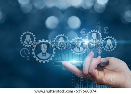 The control mechanism using the mobile device. Royalty-Free Stock Photo #639660874