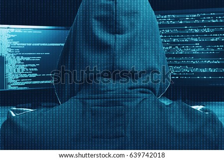 Internet cyber crime concept. Hacker working on a code on dark digital background.