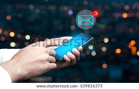 man hand phone with message in screen #639816373