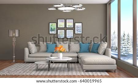Interior living room. 3d illustration #640019965