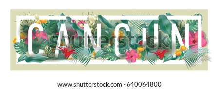 vector floral framed typographic CANCUN city artwork #640064800